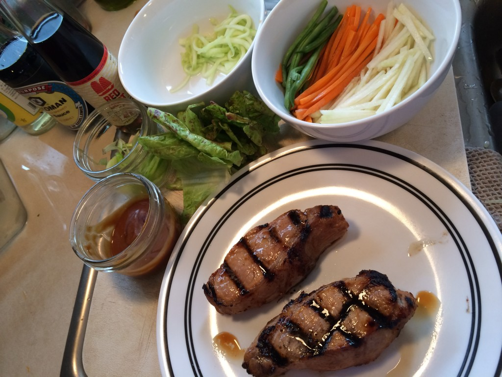 Grilled boneless pork chops, plus delicious julienned veggies